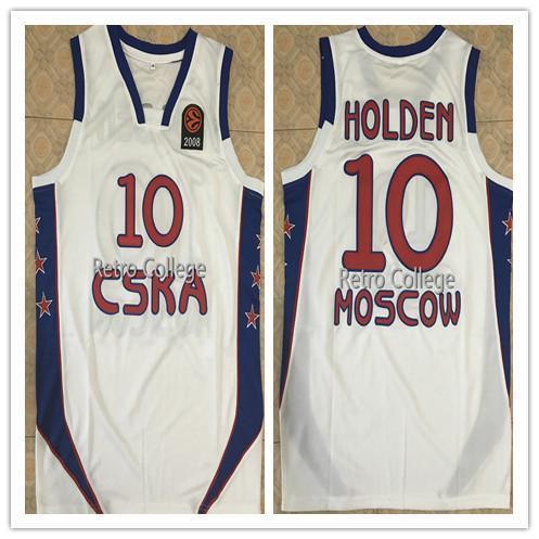Mens Jon Robert J.R. Holden Jersey # 10 CSAK EQUIPE RÚSSIA Uniforme de Basquete Jersey Top Vintage Costurado Camisas XS-6XL Vest Jerseys Ncaa