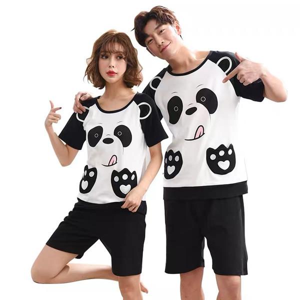 Nuevo verano conjuntos de pijamas de algodón pantalones cortos de manga masculina ropa de dormir de cuello redondo mujeres pijamas pijamas pijamas hombres pijamas Homewear