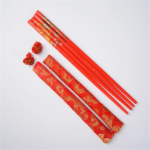 Red Color Wood Chinese Chopsticks with Brocade Gift bag Dragon and Phoenix Wedding Chopsticks Favor W8671