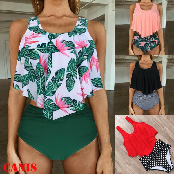 Summer Fashion Womens Swimwear 2Pcs Ruffle Draped Tops + Polka Dot Ruffle High Waisted Shorts Swimsuits Bikini Bathing Suits