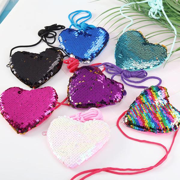 على شكل قلب PACGOTH حلوى جديد الحبل الملونة الترتر عملة المحفظة للبنات نساء الحزب موضة هدايا المال مفتاح حقيبة التخزين