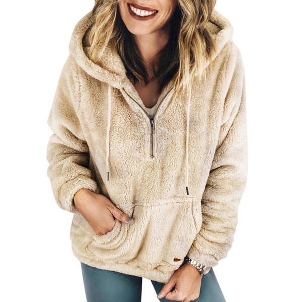 Женская с длинным рукавом с капюшоном флисовая толстовка теплый нечеткий 1/4 молнии пуловер толстовка Шерпа верхняя одежда пальто DYH1210
