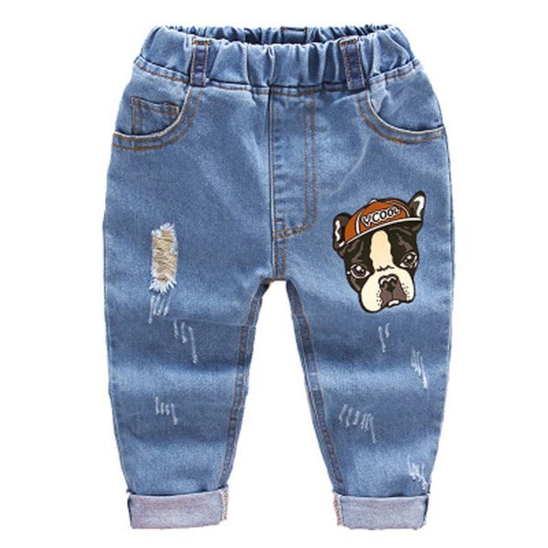2018 Fashion Children Jeans Baby Boys Cartoon Trousers Pant Baby Girls Grinding Holes Jeans Kids Spring Autumn Clothes 2-6years Y19051504