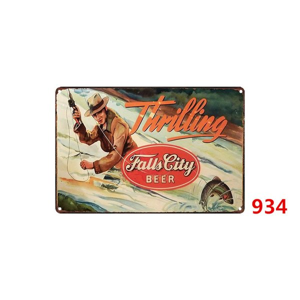 Fishing Metal Tin Signs Vintage Wall Art Retro Route Tin Sign Old Wall Metal Painting Pub Coffee Restaurant Home Decoration Three