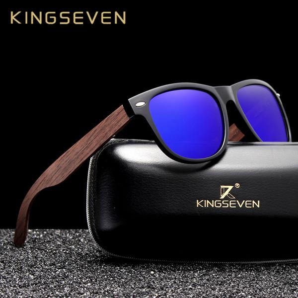 Kingseven Handmade Black Walnut Sunglasses Mens Wooden Eyewear Women Polarized Mirror Vintage Square Design Oculos De Sol Y19052001