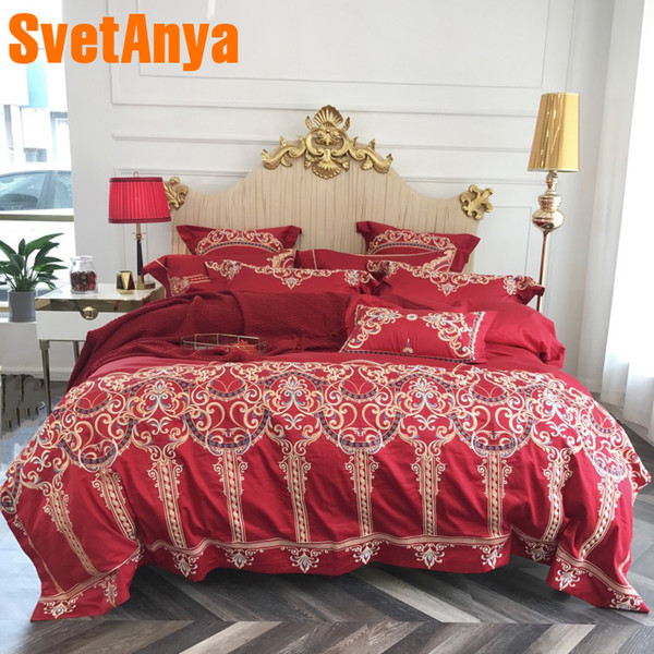 Svetanya Embroidery luxury Bedding Sets Wedding egyptian Cotton Bed Linens Queen King Size Sheet Pillowcases Duvet Cover Set Red