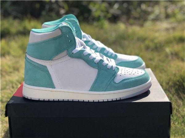 528d888151a High Quality 1 High OG Turbo Green Suede Basketball Shoes Men Women 1s Lake  Green White