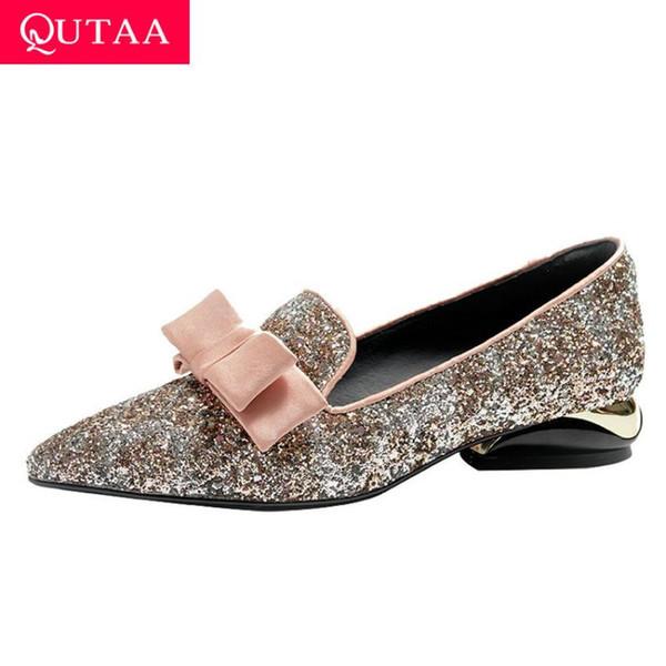 Kadınlar Tek Ayakkabı Moda Pullarda PU Deri Kadınlar On QUTAA 2020 Kare Topuk Kelebek-Knot Sivri Burun Kayma Boyutu 34-42 pompaları