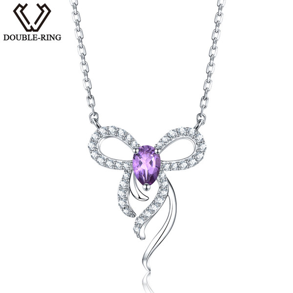 Natural Genuine Amethyst Gemstone Necklaces Pendants Solid 925 Sterling Silver Classic Bowknot Wedding Fine Jewelry for Charm women