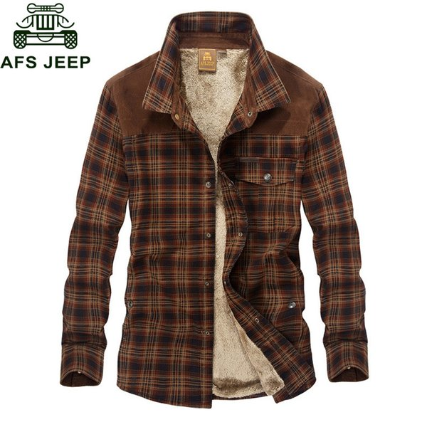 Afs Jeep Military Shirt Men Casual Shirts 100 %Cotton Winter Wool Thick Warm Shirts Plaid Fleece Camisa Masculina Chemise Homme