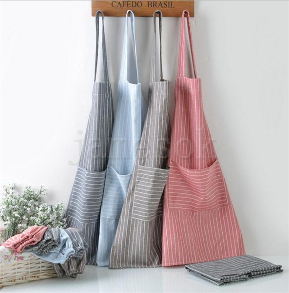 best selling Plaid stripe Apron Adjustable Kitchen Cooking Apron Unisex Kitchen Cook Apron With Pockets Cooking Craft Baking Cleaning Tool dc437