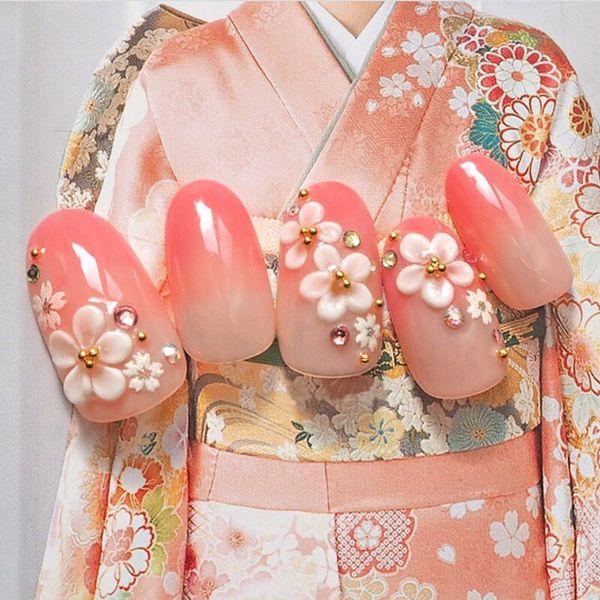24 stücke Mode Lange Gefälschte Nägel Tipps Oval Rosa Gradienten Japanischen Kimono Kirsche Stil Blume Dekoriert für Mode Mädchen