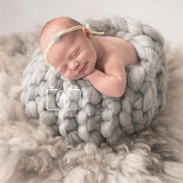 Thick Wool Chunky Blanket Newborn Photo Costume Crochet Basket Photo Shooting Knit Egg Shell Cocoon Baby Photography Backdrop Wholesale