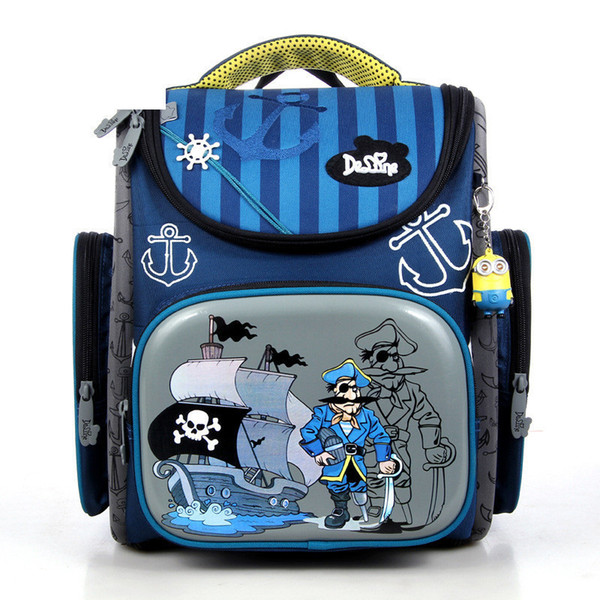Delune 2019 New European Children Pirate School Zaino Borsa per bambini Cartone Mochila Infantil Large Capacity Orthopaedic Schoolbag