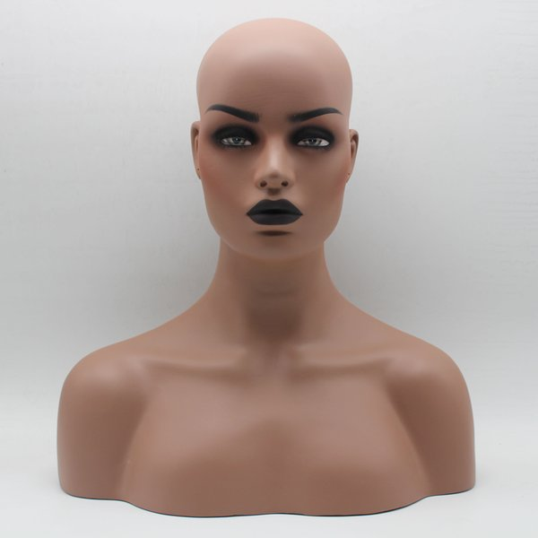 Dark Skin Black Lip Fiberglass Female Mannequin Head Bust For Lace Wig Jewelry And Hat Display