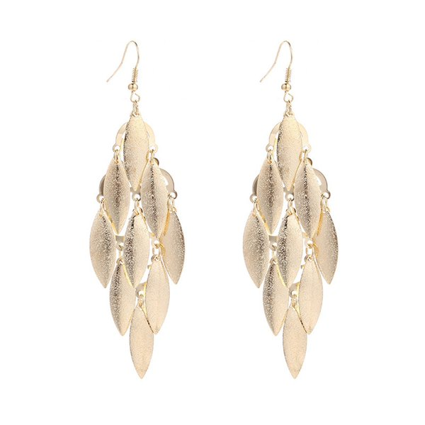 Cross-Border Europe And The United States Creative Frosted Leaves Earrings Simple Joker Metal Leaves Tassel Earrings Fashion Accessories