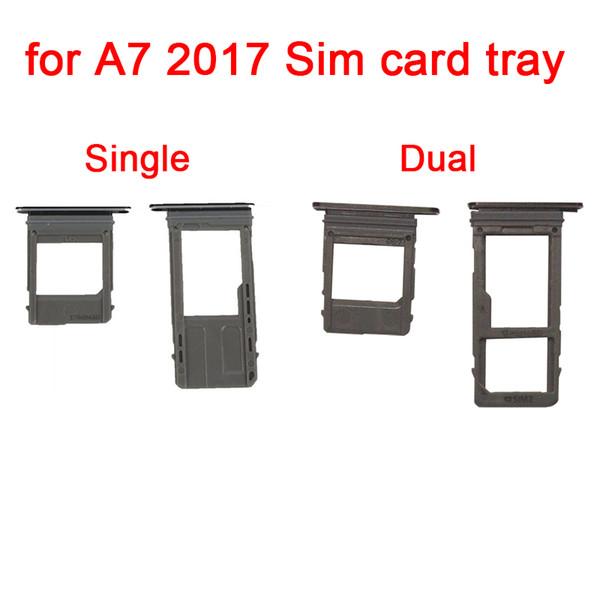 1 Takım / grup Tek / Çift Sim Kart Tepsi Mikro SD Kart Yuvası Tutucu Samsung Galaxy A5 A7 2017 A520 A720 Değiştirme