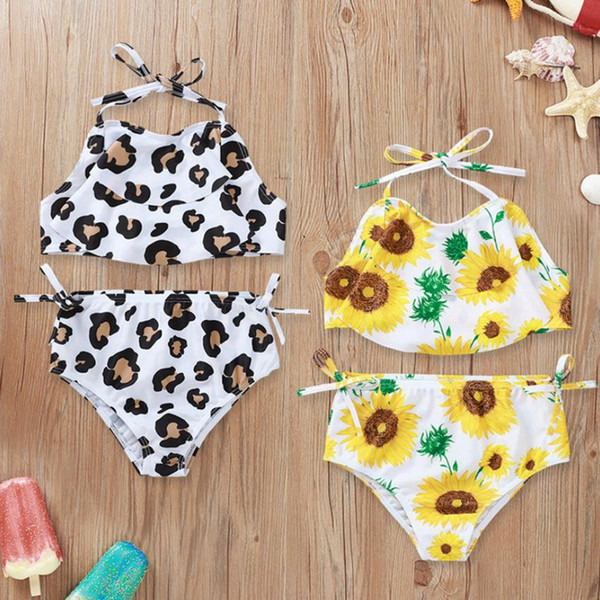 best selling Toddler Girl Swimsuit Sunflower Girls Tops Short Pants 2pcs Set Leopard Suspender Children Swimwear Summer Baby Swim Clothes 2 Designs D5393