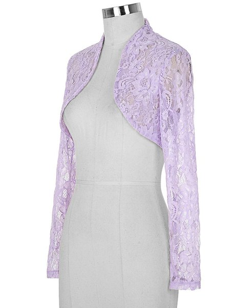 Vintage Womens Ladies Long Sleeve Cropped Lace Shrug Bolero 4 Colors Size S-3xl