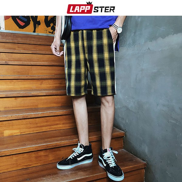 LAPPSTER Men Summer Plaid Shorts Joggers 2019 Mens Streetwear Hip Hop Side Stripe Sweat Shorts Male Casual Yellow Plaid