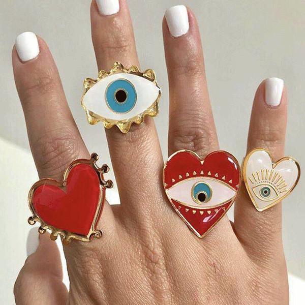 Trendy Boemia Red bianco Cuore Cooper anelli per le donne ragazze Carved occhi diabolici anello Exaggrate Anelli Oro Lega Carino Set
