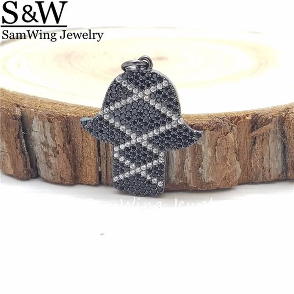 5pcs/Lot Fashion Black Plated Fatima Hand Full Crystal Filled Pendant & Necklace Hamsa Hand colorful Pendants