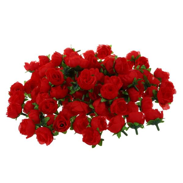 100 x Testa di fiore artificiale Rose Deco Rosette Fai da te Festa nuziale Battesimo ROSSO