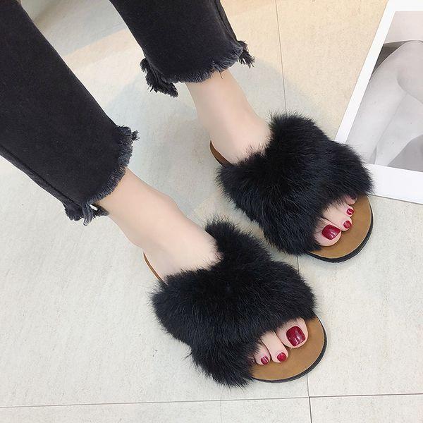 Hot Sale-Pantoufles femmes Furry Slippers Ladies extérieur Slip On sandales en peluche femmes appartements flop flips sandales Sandalias # 680