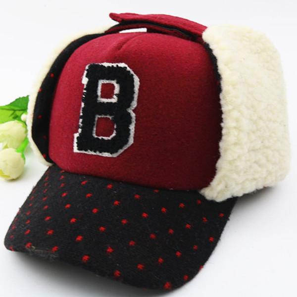 Lovely B letter Hats kids Caps children Hat Bomber Winter Cap Children Masks Warm All For kids Clothing And