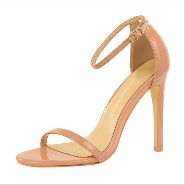 super fashion tacchi alti delle donne di estate con la dimensione alti talloni delle donne sexy punte aperte e sandali estivi 34-40 di colore rosso nero bianco nudo
