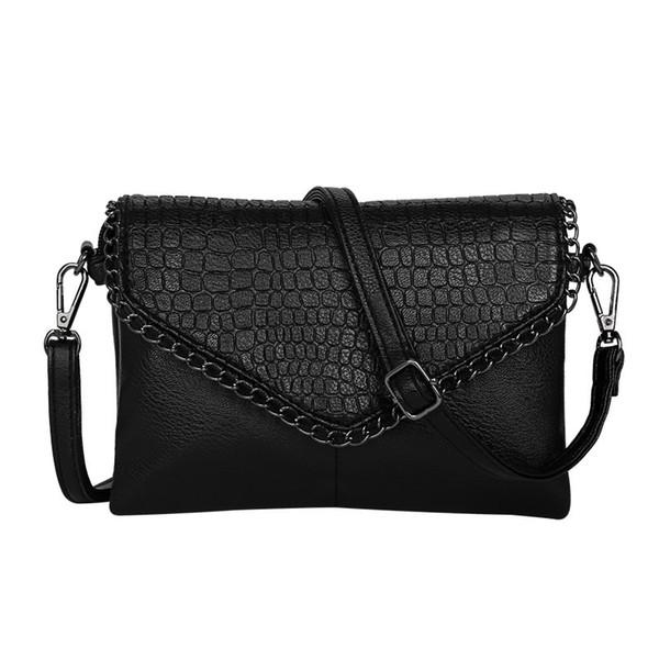 2018 new fashion trend female envelope messenger bag crocodile pattern multi-function simple black pouch #173732