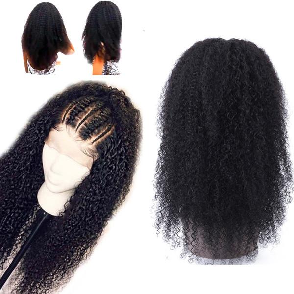 Parrucche di capelli umani ricci Afro crespi con i capelli del bambino nodi candeggiati brasiliano Remy 4 * 4 parrucche anteriori in pizzo parrucca di pizzo ricci pre-pizzicate all'ingrosso a buon mercato