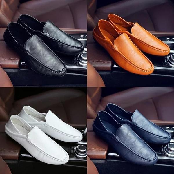 Calçados masculinos slip-on tendência pé doug de sapato coreano condução homens vestir desgaste