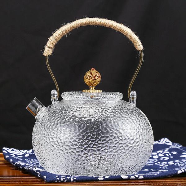 700ml a mano anello di metallo maniglia martello piombo vetro Gongfu teiera Tea Kettle con acciaio inossidabile setaccio 23 once