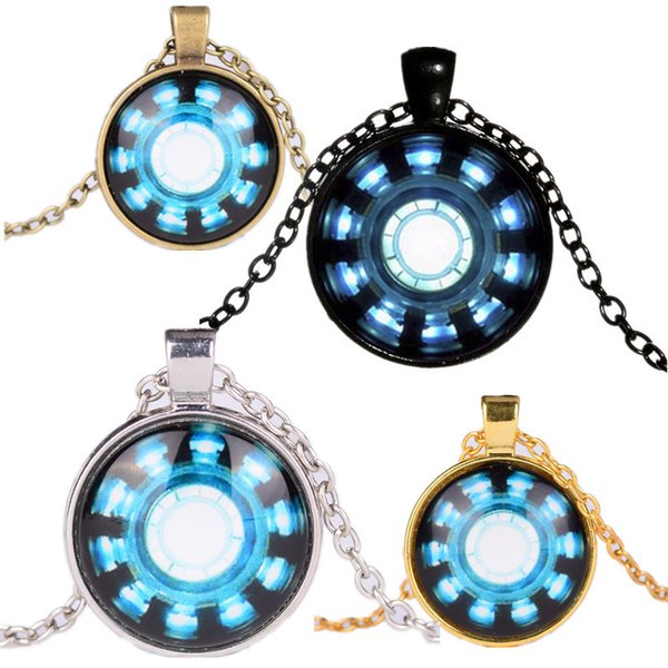 Necklaces Pendants Avengers 4 Endgame Iron Man Captain America Heart Arc Necklace Key Holder 25MM Time Gemstone Necklace Phone Chain A41006