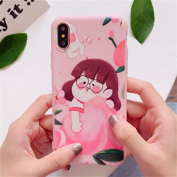 3D Cartoon Cute Peach Little Girl Pink Case for IPhone X XS 10 8 7 6 S 6S Plus I Phone Phone Case Kawaii Soft Silicon Bumper Back Cover