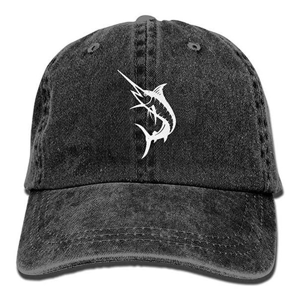 2019 New Wholesale Baseball Caps Mens Cotton Washed Twill Baseball Cap Marlin Big Game Fishing Hat