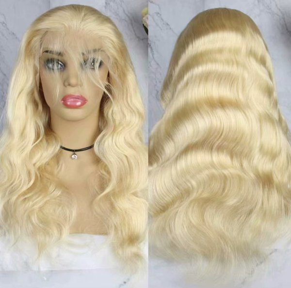 Malaysian Blonde Human Hair Full Lace Wig Body Wavy 613 Color Remy Hair Free Part With Bleached Knots Hand Tied