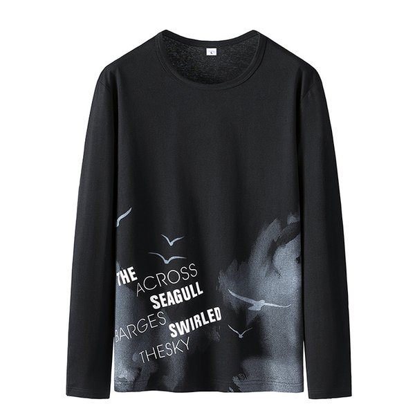 Luxury Men's T Shirt 2019 Autumn T Shirt Long-sleeved Sweater Men's Round Neck The Trend of Spring and Autumn Wild Shirts