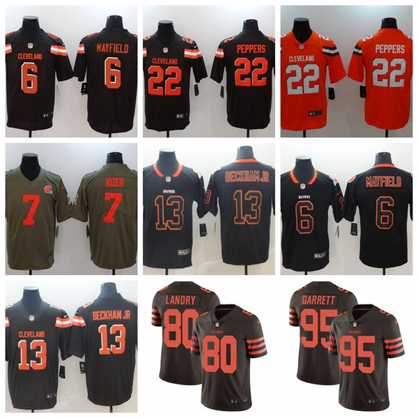half off b4c4f d1d04 2019 13 Odell Beckham Jr Browns Jersey 6 Baker Mayfield 80 Jarvis Landry 95  Myles Garrett Cleveland Nick Chubb Ward Thomas Peppers Browns Youth 1 From  ...