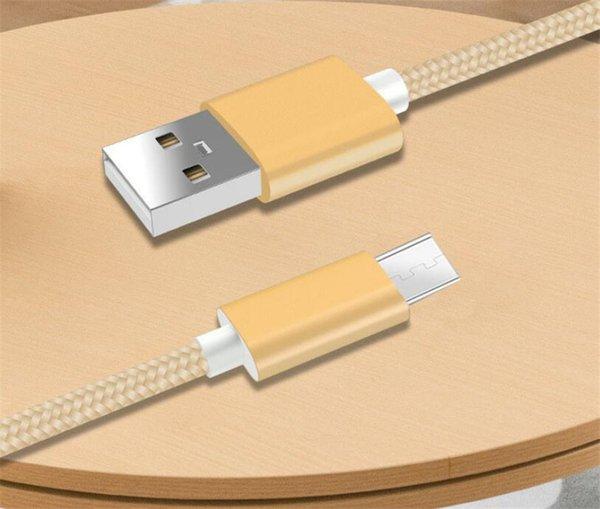 Câbles de téléphone cellulaire 1M Nylon Tressé Type C Micro Câble USB Chargeur Data Sync Câble USB Cordon Pour Smartphones Tablet PC