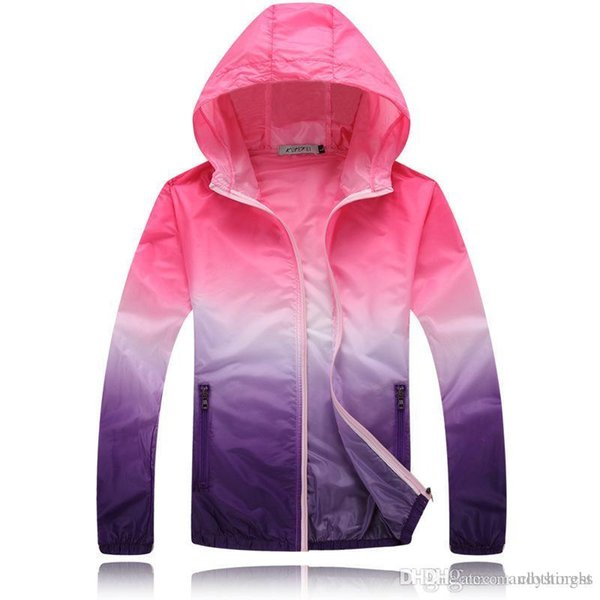 Wholesale- New Spring jacket casual women water proof hooded jackets gradient color sun protection ladies coat KM1354