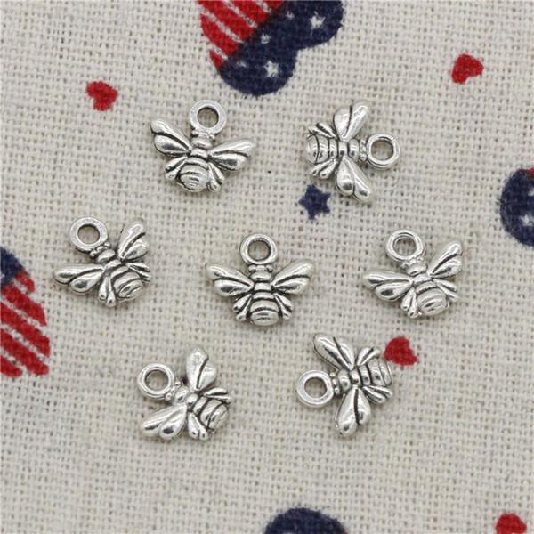 833 stücke Charme biene 10 * 11mm Anhänger, Tibet Silber Anhänger, Für DIY Halskette Armbänder Schmuck Zubehör
