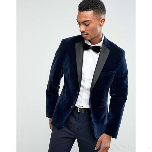 New Stylish Design Groom Tuxedos Two Button Navy Blue Velvet Notch Lapel Groomsmen Best Man Suit Mens Wedding Suits (Jacket+Pants+Tie) 940