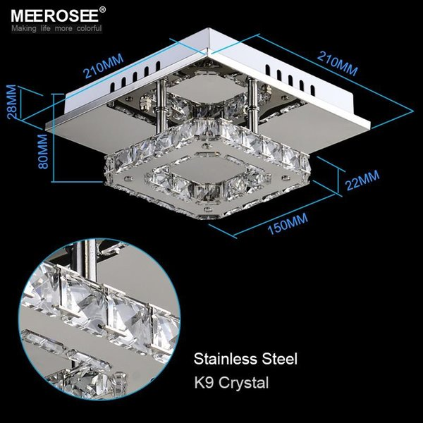 Modern LED Luminária de teto de cristal quadrado LED lâmpada de cristal para corredor Asile iluminação LED transporte rápido