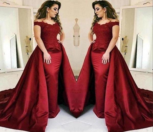 Vestidos de noche de sirena de color rojo oscuro 2019 con largo tren de encaje apliques Longitud del piso Vestidos de fiesta Vestido de fiesta Vestido de Novia