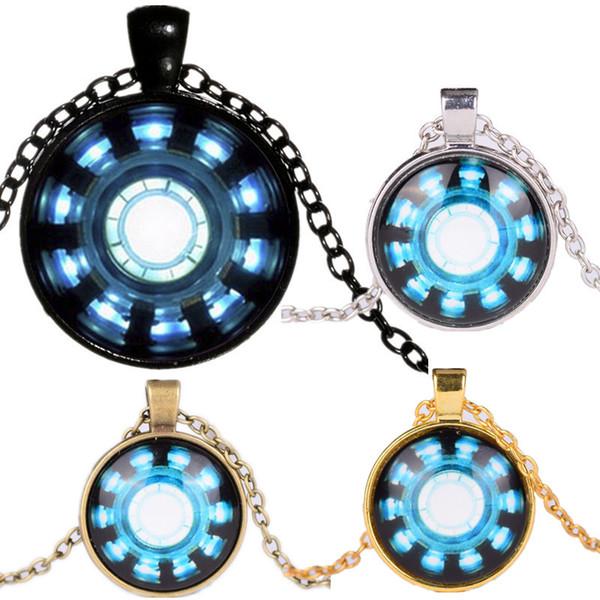 Chaîne de téléphone Porte-clé Collier de pierres précieuses Colliers Pendentifs Avengers Endgame Iron Man Capitaine Amérique Coeur Collier Arc A41006