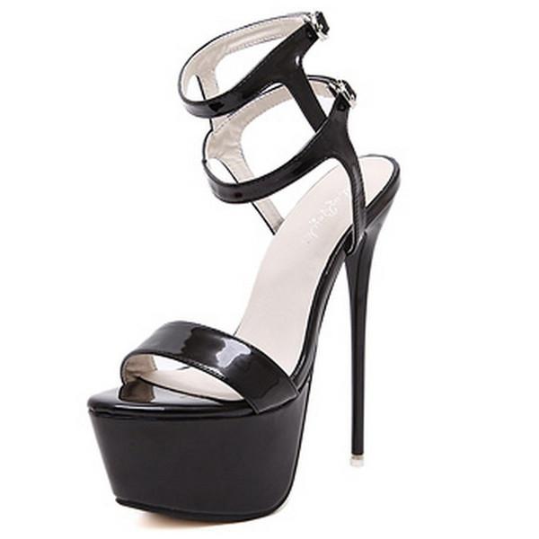 Женщина свадебные сандалии плюс Размер 46 ультра высокие каблуки 16 см 2019 Sexy Fine высокий каблук сандалии платформы девушки Полюс танцевальная обувь стриптизерша каблуки