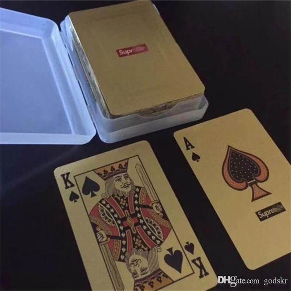 SUP Gold Playing Cards Tarjeta de entretenimiento de marca para Bar KTV Party Tarjeta de póquer a prueba de agua con logotipo Fiesta en el festival Suministros