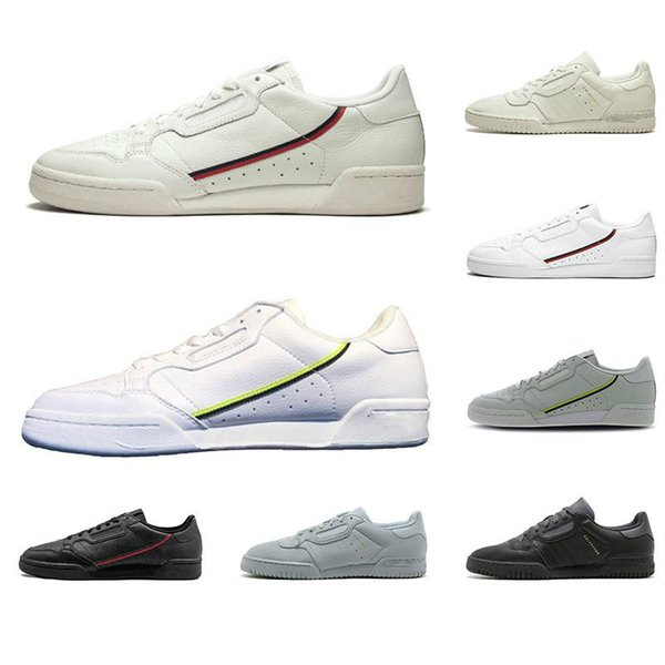 2019 New Arrived Powerphase Women Mens Trainer Sports Sneakers 36-45 Core Black White Semi-Frozen Grey Calabasas Continental 80 Casual Shoes